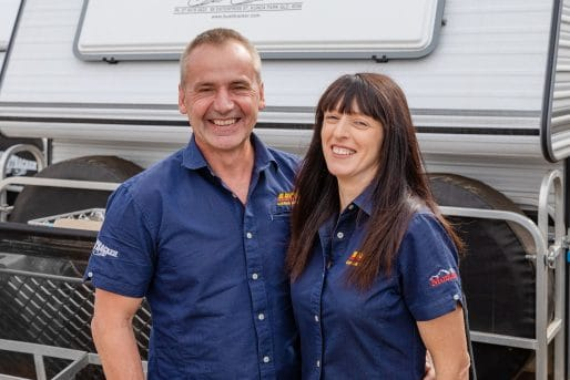 Darren & Kathleen Saward Directors at ABCO Caravan Services onsite in Coffs Harbour